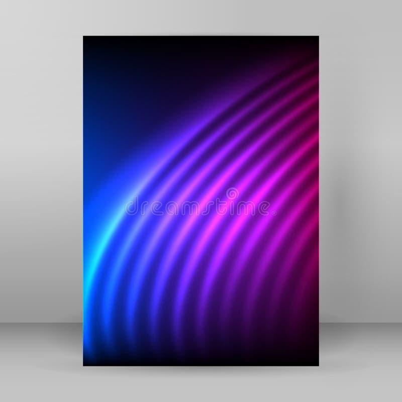 Líneas curvadas que brillan intensamente formato púrpura A4 de la revista del fondo ilustración del vector
