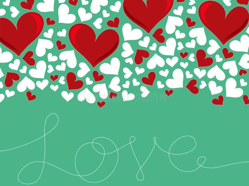 Líneas de amor Loopy y corazón rojo ilustración del vector