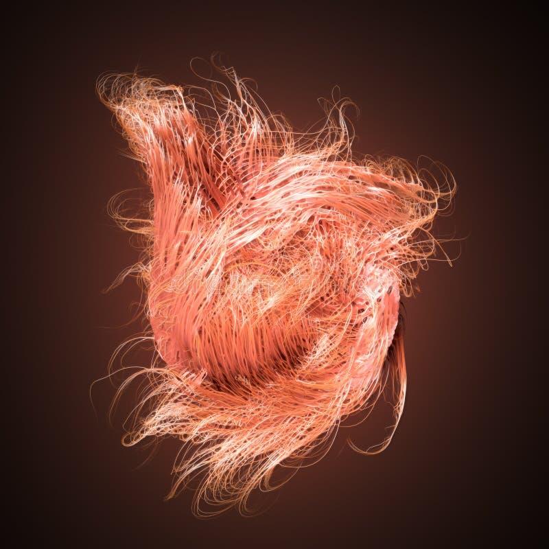 Líneas de color naranja del extracto del flujo del ruido del rizo representación 3d ilustración del vector