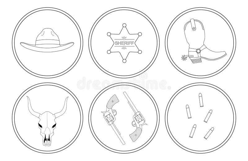 Líneas de contorno del oeste salvajes objetos fijados stock de ilustración