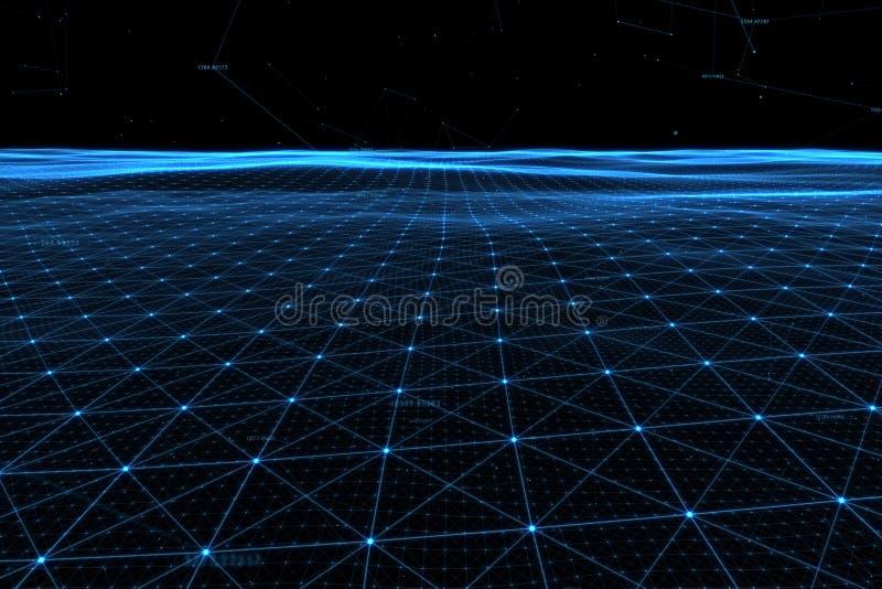 Líneas de datos conceptuales de la red con números stock de ilustración