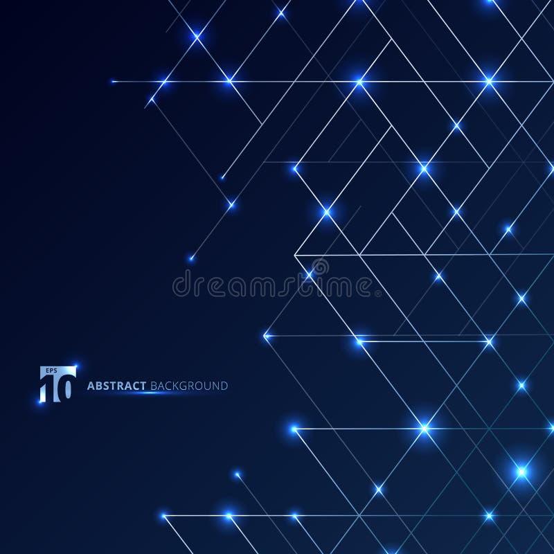 Líneas de dimensión abstractas color platas en fondo azul marino con el punto del resplandor Malla de lujo moderna del cuadrado d libre illustration