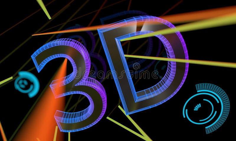 Líneas de emisión de Techno 3d, 3d ilustración del vector