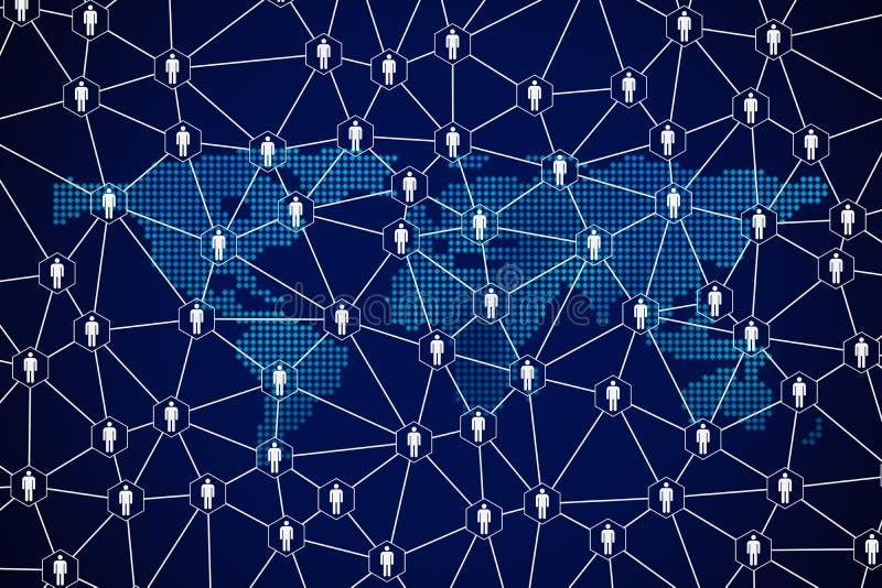 Líneas de la conexión del símbolo y de red de la gente en fondo azul con el mapa del mundo en tecnología de los medios sociales y libre illustration
