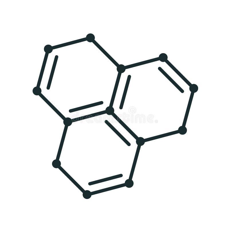 """Líneas de la forma del icono de la estructura de la molécula, vector del †modelo molecular del icono """" stock de ilustración"""