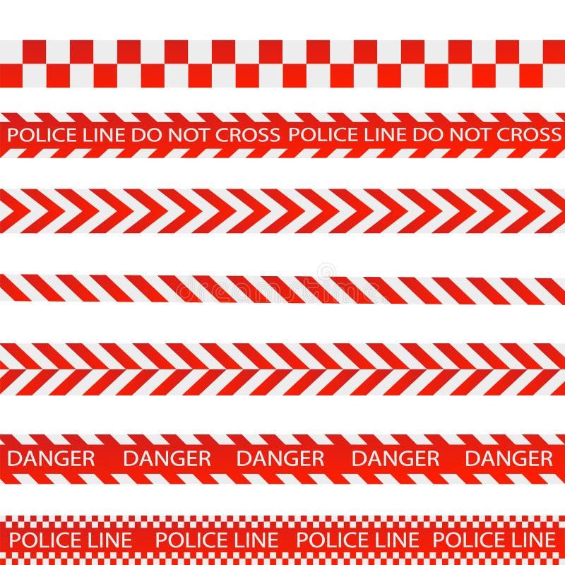 Líneas de la precaución aisladas Cintas amonestadoras E Ilustración del vector stock de ilustración