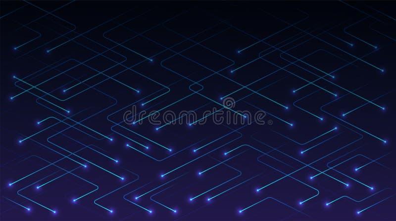 Líneas de la tecnología del vector con las partículas que brillan intensamente en fondo azul Concepto de tecnología digital de al stock de ilustración