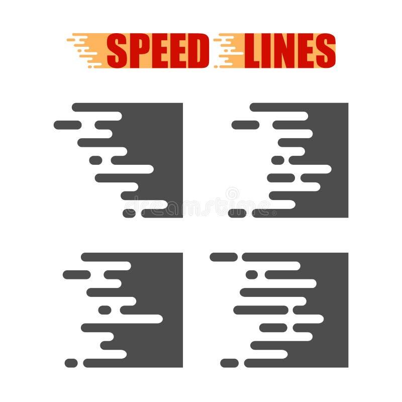Líneas de la velocidad aisladas Efecto del movimiento Líneas negras en el fondo blanco ilustración del vector