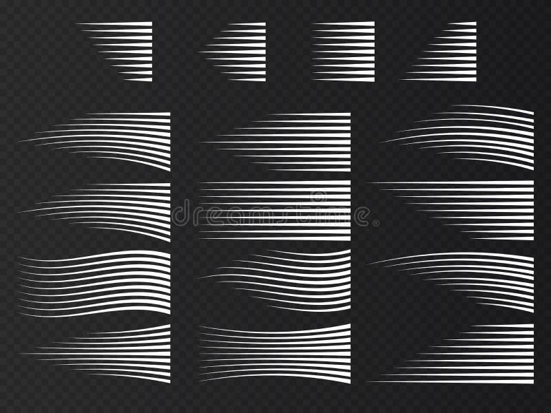 Líneas de la velocidad aisladas Sistema de muestras del movimiento Vector stock de ilustración