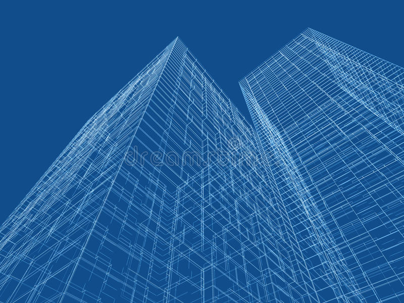 Líneas de marco del alambre sobre fondo azul 3d ilustración del vector
