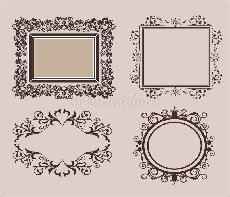 Líneas de mimbre y viejos elementos de la decoración en vector El vintage confina el marco en sistema Decoración de la página par imagen de archivo
