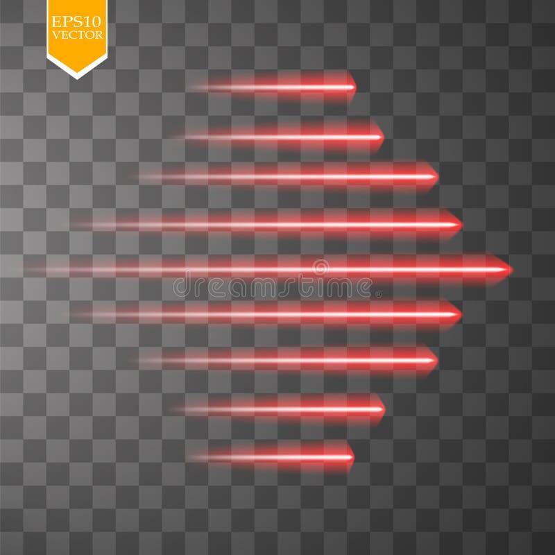 Líneas de neón rojas del resplandor de la velocidad aisladas Sistema de muestras del movimiento Ilustración del vector stock de ilustración