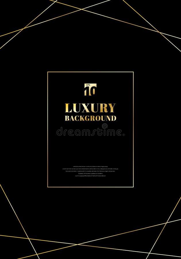 Líneas de oro del marco del diseño de la plantilla en fondo negro Estilo de moda elegante de lujo del art déco Usted puede utiliz libre illustration