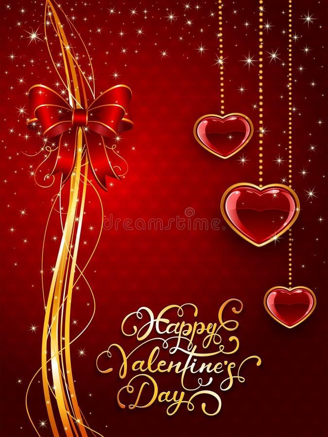 Líneas de oro en fondo de las tarjetas del día de San Valentín con el arco y los corazones ilustración del vector