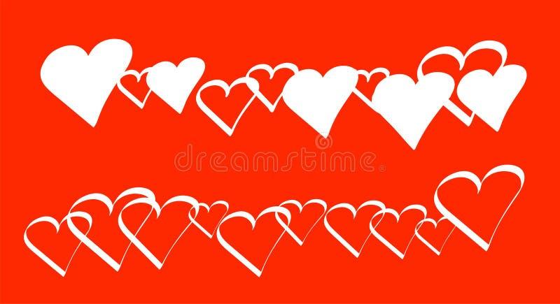 Líneas de repetir los corazones blancos llenados o solamente los contornos del esquema aisladas en un fondo del color rojo en for ilustración del vector