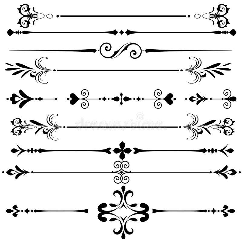 Líneas decorativas de la regla del ornamento del vintage stock de ilustración
