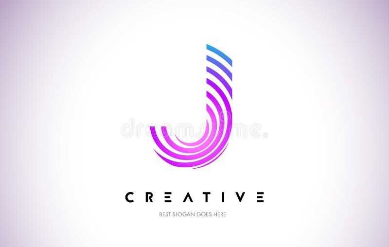 Líneas deformación Logo Design de J Icono de la letra hecho con la circular púrpura stock de ilustración