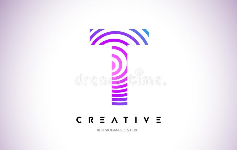 Líneas deformación Logo Design de T Icono de la letra hecho con la circular púrpura ilustración del vector