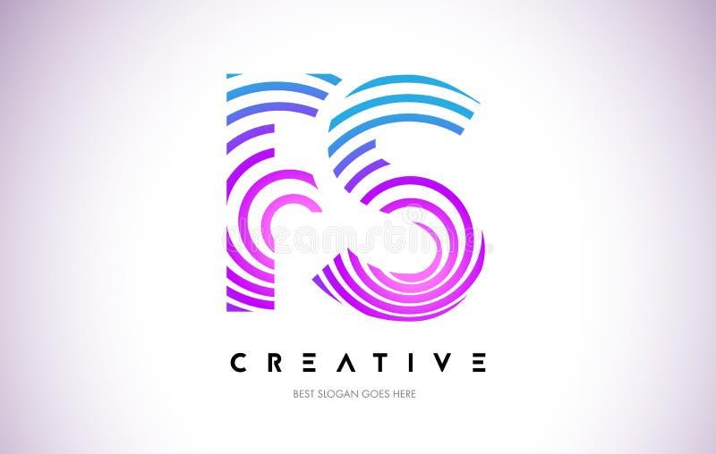 Líneas deformación Logo Design del FS Icono de la letra hecho con la circular púrpura libre illustration