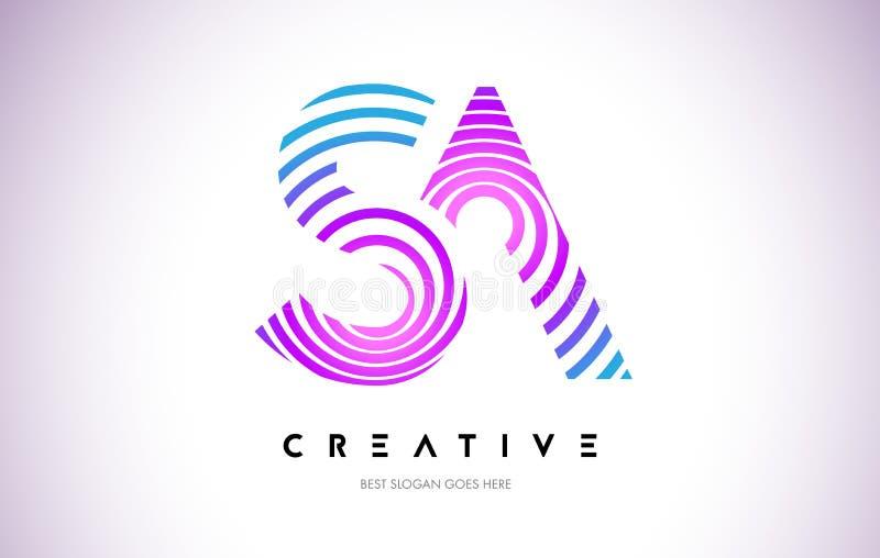 Líneas deformación Logo Design del SA Icono de la letra hecho con la circular púrpura stock de ilustración