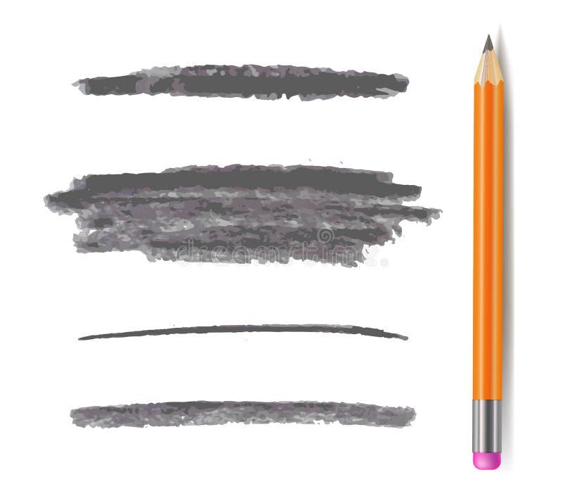 Líneas del lápiz del vector, Gray Brush Strokes Set Isolated monocromático, con el lápiz del grafito libre illustration