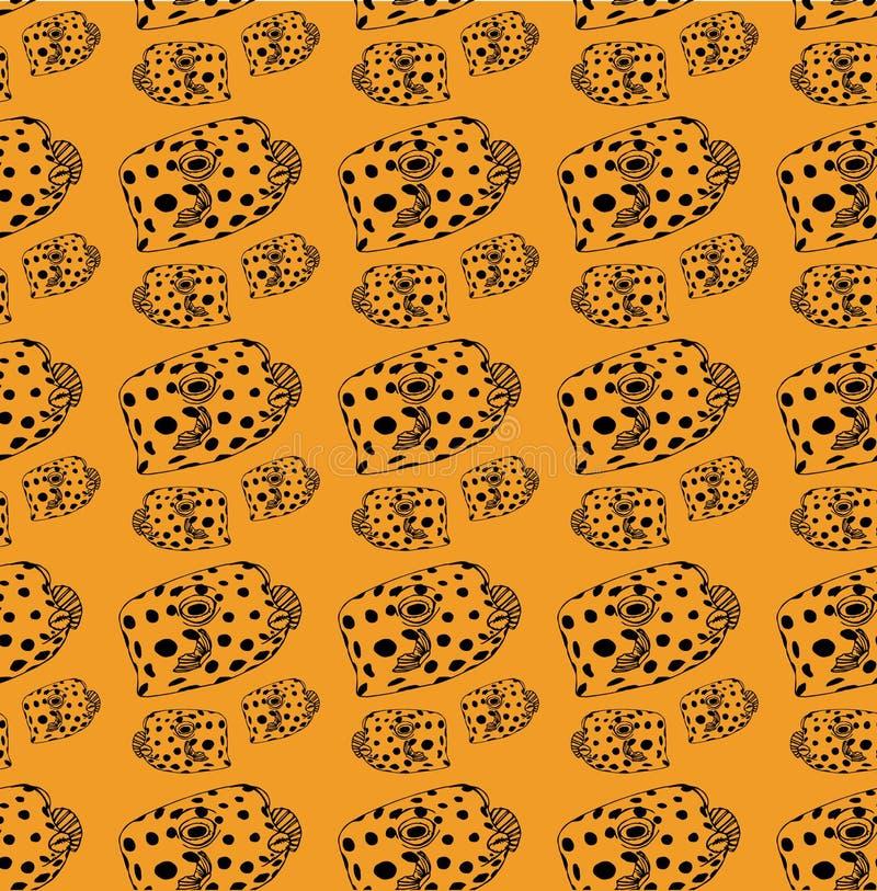 líneas del negro del modelo de la Pescado-caja, pescados en fondo amarillo stock de ilustración