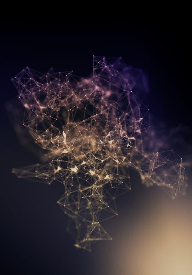 Líneas del plexo, puntos y haces luminosos con los puntos ligeros Fondo abstracto de la tecnología, de la ciencia y de la ingenie foto de archivo