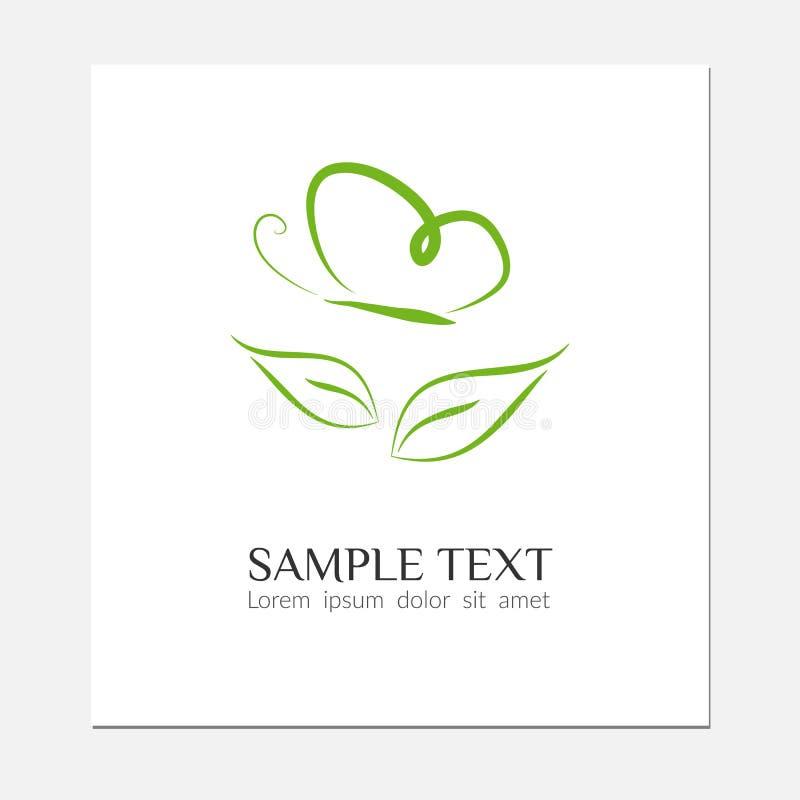 Líneas del símbolo de la mariposa del verde del icono de Eco de una silueta de una mariposa sobre una hoja en un logotipo moderno stock de ilustración