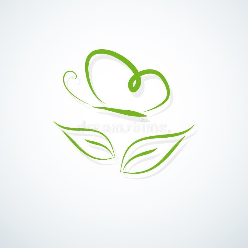 Líneas del símbolo de la mariposa del verde del icono de Eco de una silueta de una mariposa sobre una hoja en un logotipo moderno ilustración del vector