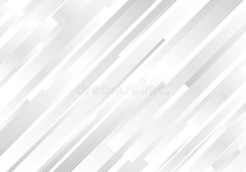 Líneas diagonales blancas del extracto y grises geométricas fondo moderno de las rayas stock de ilustración