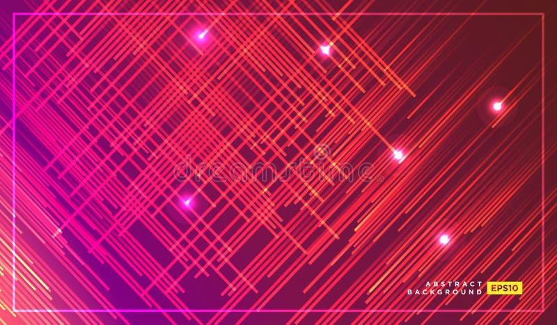 Líneas diagonales del vector de las rayas que caen con el ejemplo ligero que brilla intensamente Espacio y estrellas en fondo roj libre illustration
