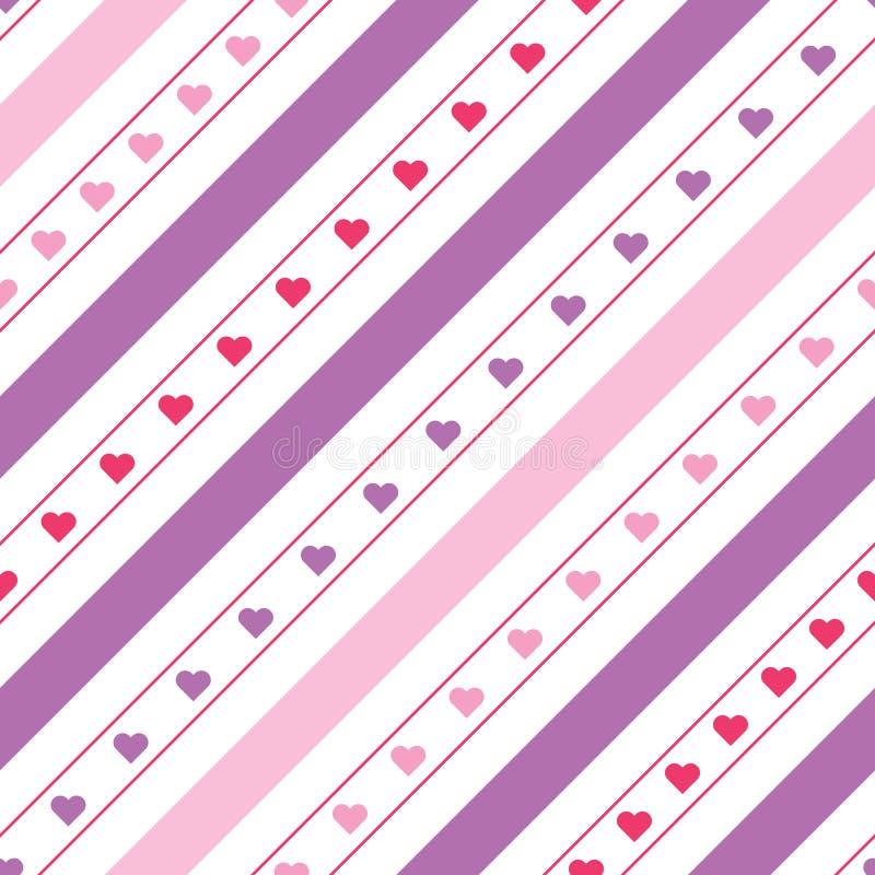 Líneas diagonales modelo inconsútil del vector con los corazones ilustración del vector
