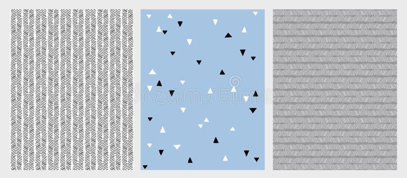 Líneas dibujadas mano y modelos abstractos del vector de los triángulos fijados Diverso diseño 3 libre illustration