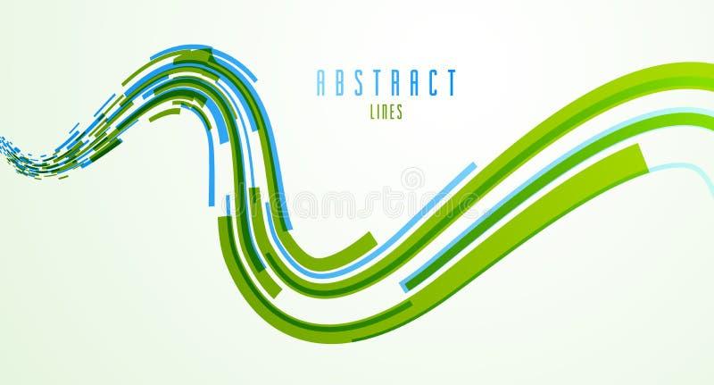 líneas dinámicas abstractas 3D en fondo del vector del movimiento, tecnología o el elemento del diseño de la abstracción del tema ilustración del vector