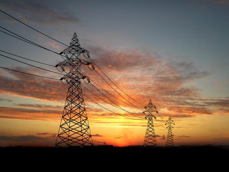 Líneas eléctricas eléctricas fotos de archivo