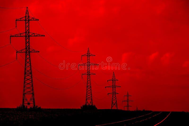 Líneas eléctricas eléctricas imagen de archivo libre de regalías