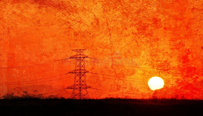 Líneas eléctricas en la salida del sol foto de archivo