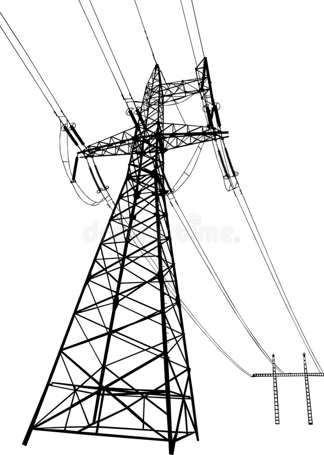Líneas eléctricas y pilones eléctricos ilustración del vector