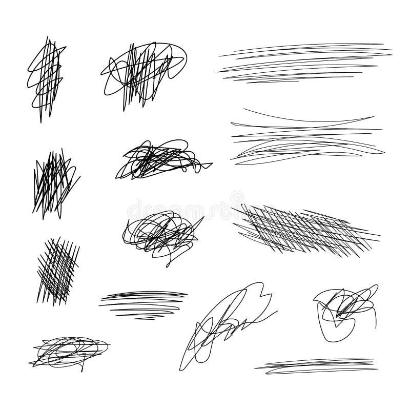 Líneas fijadas, movimientos negros del garabato del vector del cepillo en blanco ilustración del vector