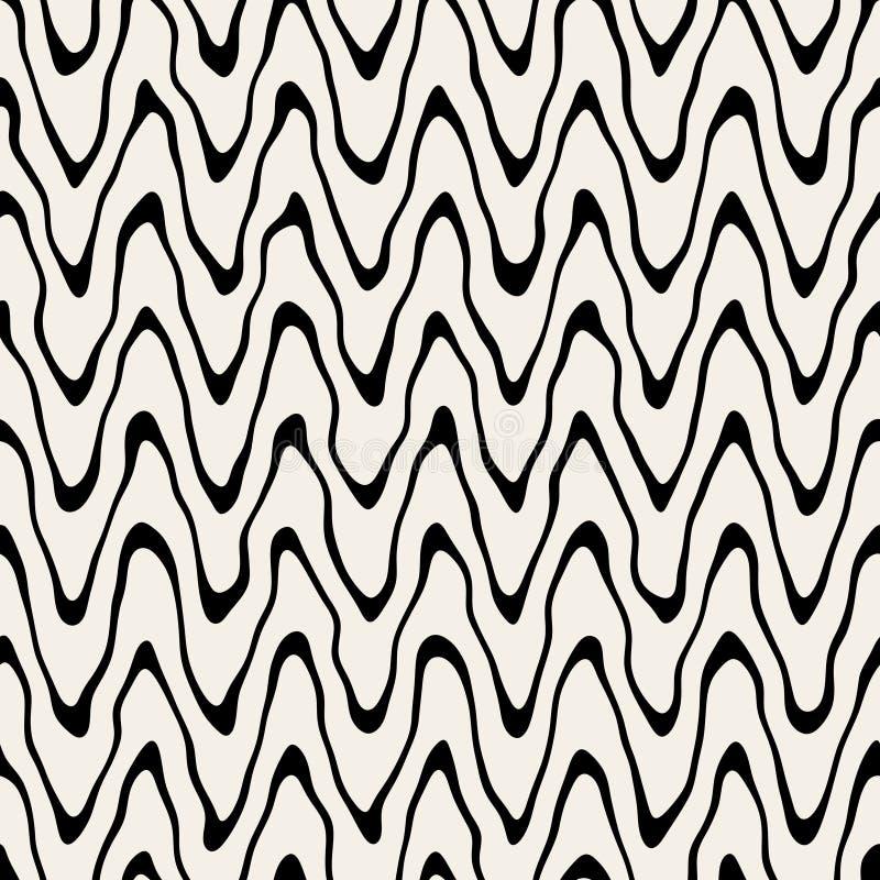Líneas finas onduladas pintadas a mano ásperas redondeadas blancos y negros inconsútiles modelo del vector libre illustration