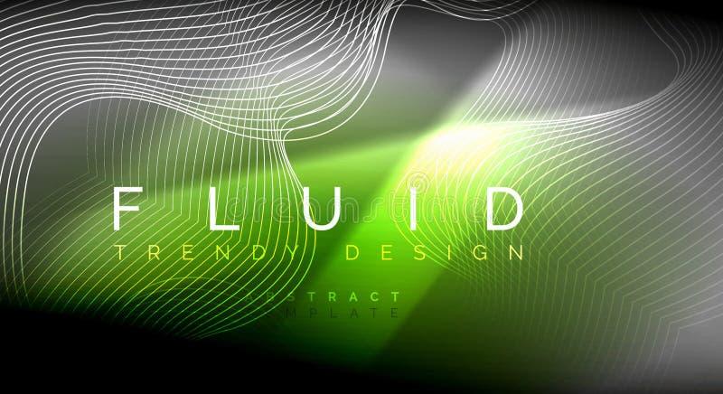Líneas flúidas de neón de la onda que brillan intensamente, concepto mágico de la luz del espacio de la energía, diseño abstracto ilustración del vector