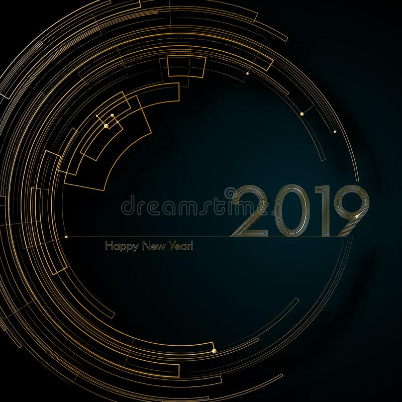 Líneas futuristas del oro del círculo 2019 invitaciones futuristas de lujo de las tarjetas del fondo del Año Nuevo del elemento c ilustración del vector