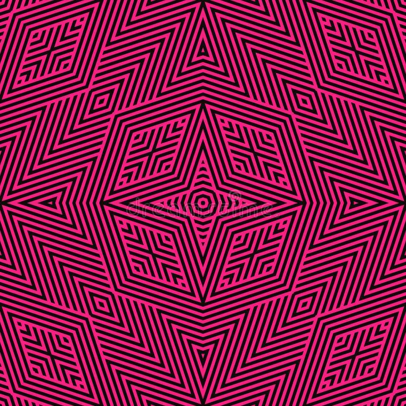 Líneas geométricas negras y rosadas modelo inconsútil Fondo linear del vector libre illustration
