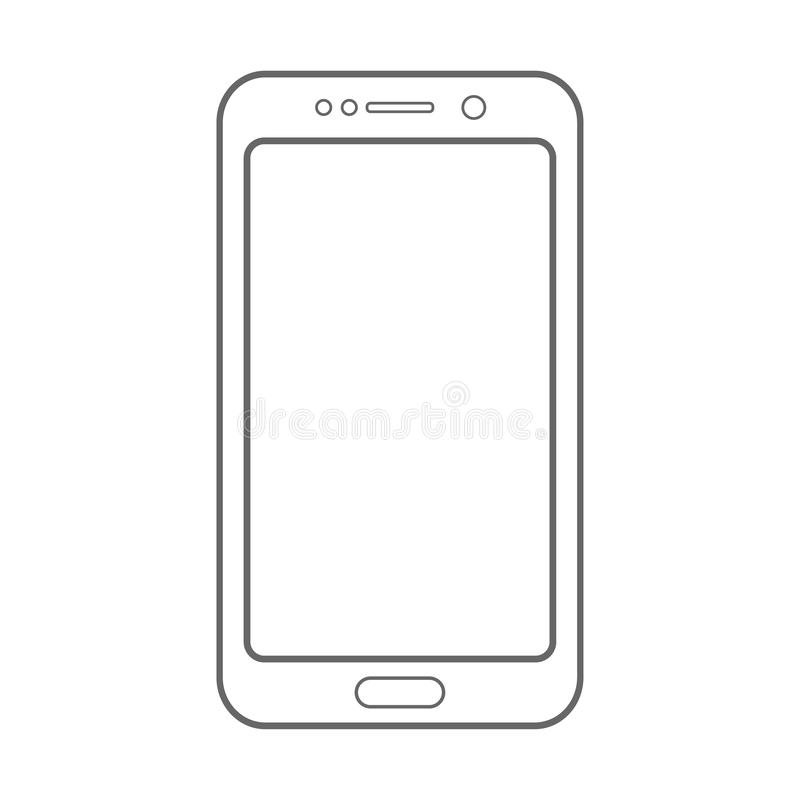 Líneas gordas teléfono móvil de la salida del smartphone gris del color con el botón de encendido y el vector vacío eps10 de la v stock de ilustración