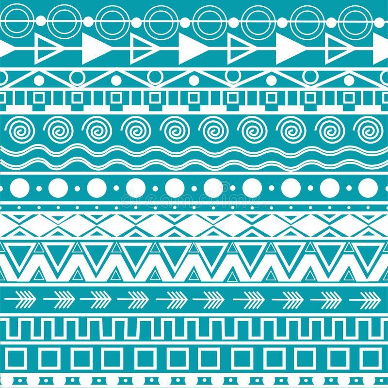 Líneas horizontales con un patrón aztec transparente. Elementos hippie bohemios-zigzag, triángulos, círculos y líneas, decora stock de ilustración