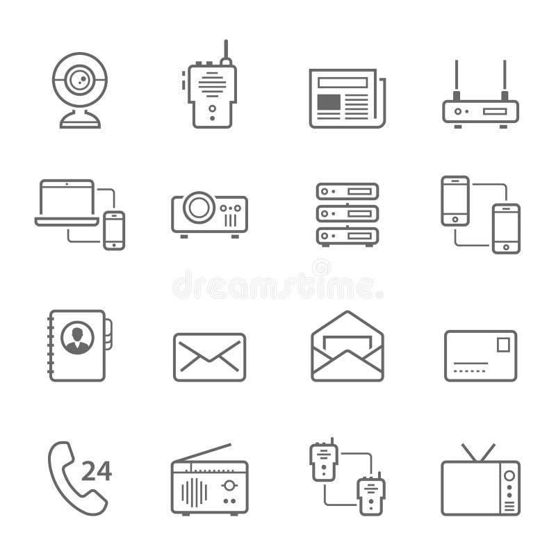 Líneas icono fijado - dispositivos de comunicación stock de ilustración