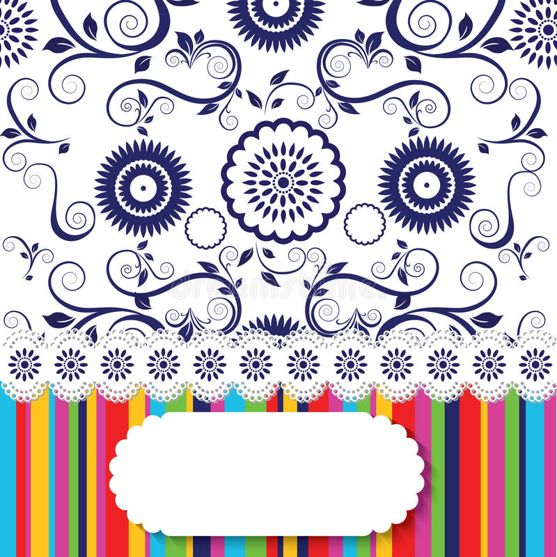 Líneas inconsútiles del papel pintado floral y del arco iris stock de ilustración