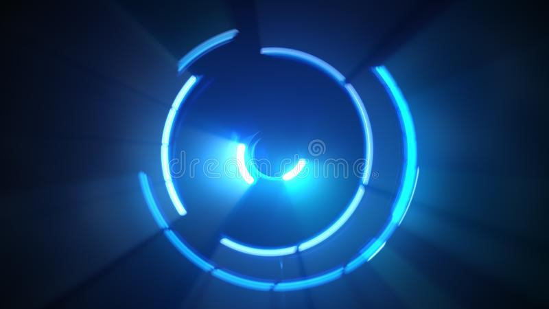 Líneas ligeras azules de giro stock de ilustración
