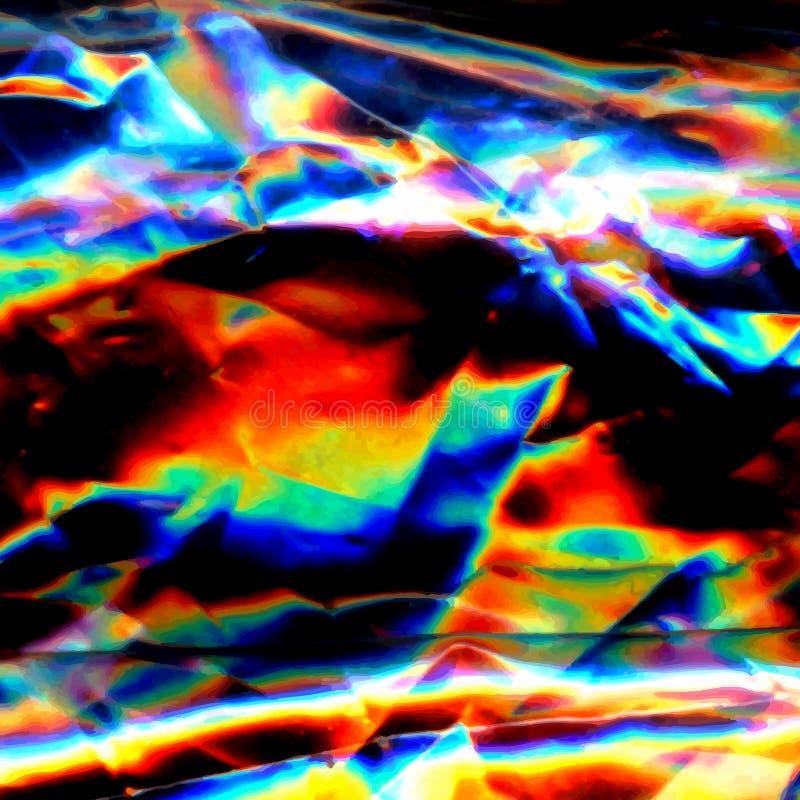 Líneas ligeras brillantes del arte olográfico de neón colorido abstracto del arco iris y puntos multicolores libre illustration