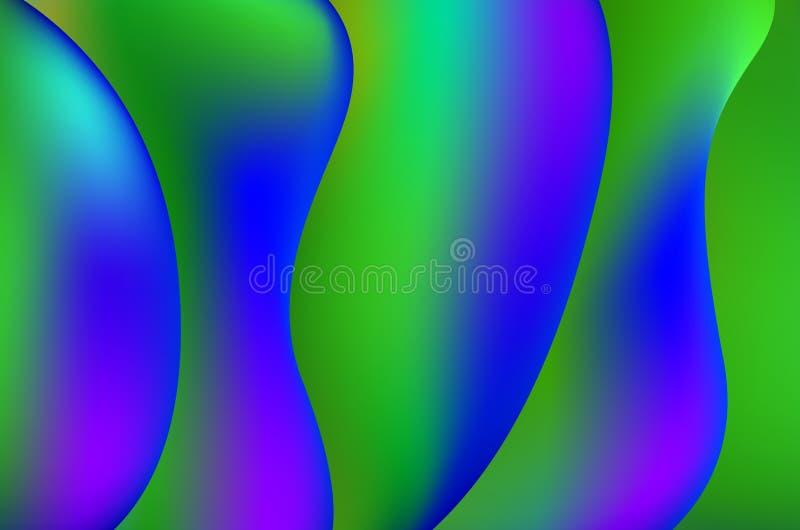 Líneas ligeras fondo de la torsión lisa colorida verde y azul del vector EPS 10 stock de ilustración